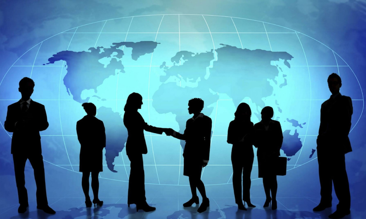 Slideshow Photo (2 of 7)Silhouttes Against Blue Background With World Map: Leverage data in reliable, new and novel ways